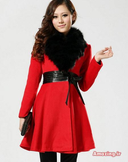 مدل پالتو قرمز خزدار, پالتو دخترانه , پالتو کره ای ,مدل پالتو زنانه , پالتو زمستانی