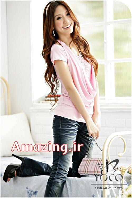 مدل بلوز مجلسی صورتی دخترانه کره ایی 2014
