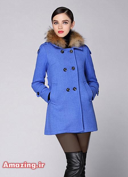 مدل پالتو آبی خز, پالتو دخترانه , پالتو جدید کره ایی