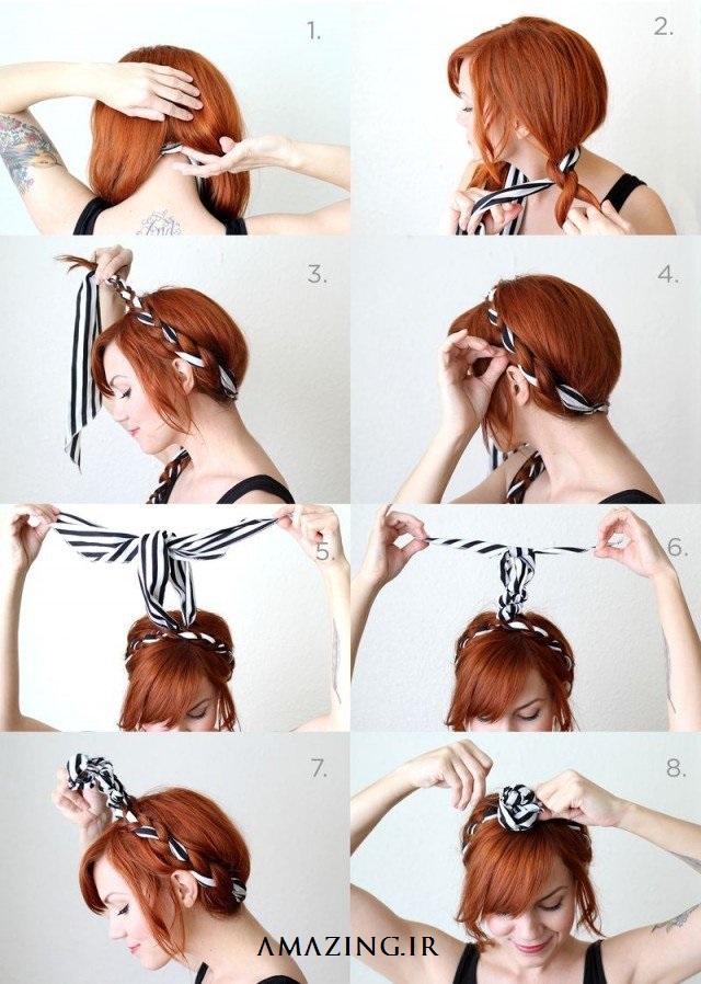 آموزش تصویری بافت مو ,عکس بستن مو,مدل بافت مو