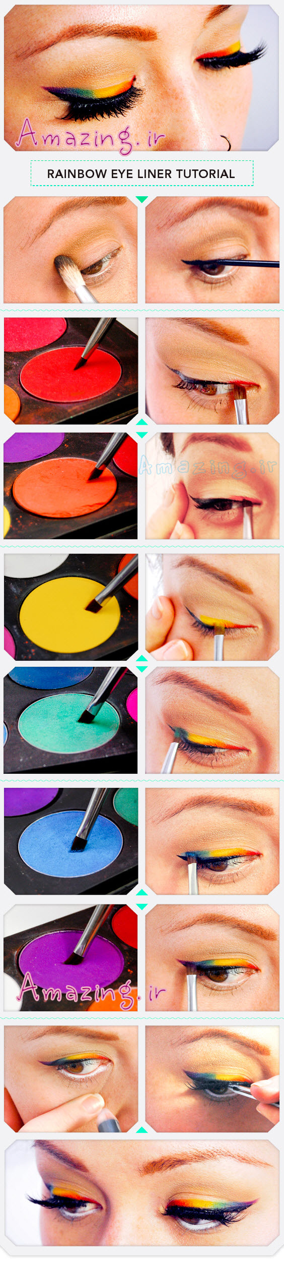 عکس مدل سایه چشم رنگین کمانی,  اموزش تصویری ارایش چشم ,  اموزش تصویری سایه چشم زدن  ,  مدل میکاپ چشم 2014