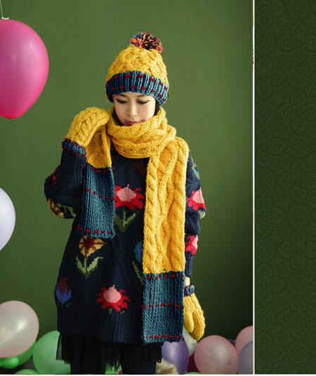 مدل کلاه بافتنی دخترانه کره ایی 2014 , مدل کلاه بافتنی 2014 , مدل شال بافتنی , مدل شال و کلاه زمستانی