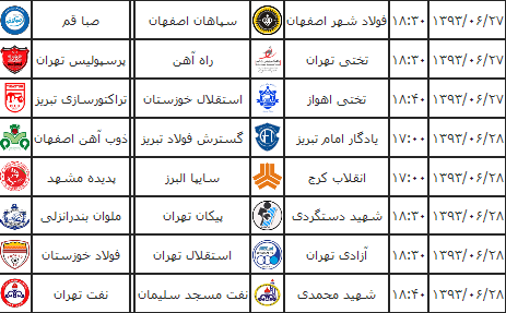 برنامه بازی های هفته 9 لیگ برتر فصل 93 - 94