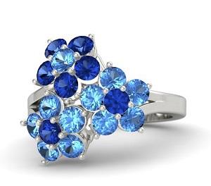 انگشتر , مدل انگشتر زنانه , انگشتر با نگین آبی