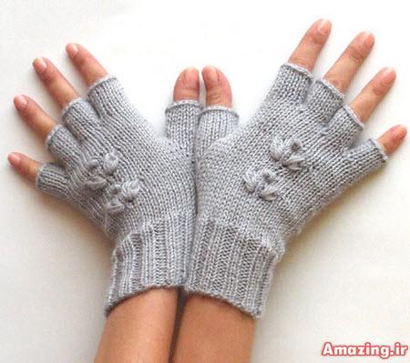 دستکش بافتنی , دستکش بافتنی بدون انگشت , دستکش بافتنی دخترانه , دستکش بافتنی 2015