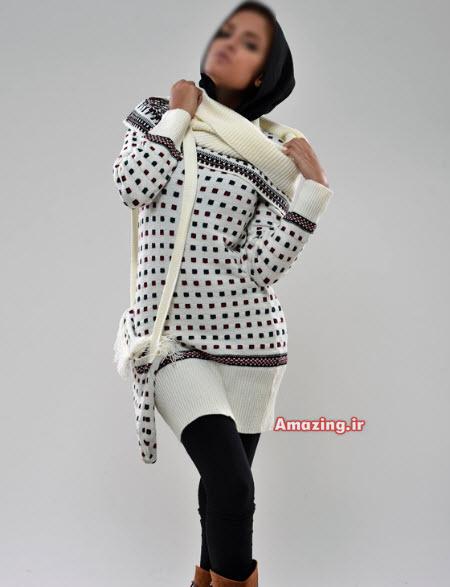 لباس بافتنی با کلاه زنانه , لباس بافتنی ایرانی 2015, مدل لباس بافتنی بلند , تونیک بافتنی