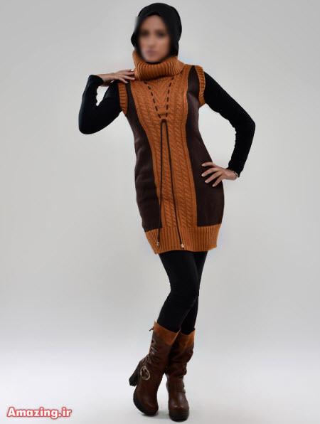 مدل لباس بافتنی بلند , تونیک بافتنی , مدل مانتو بافتنی 2015