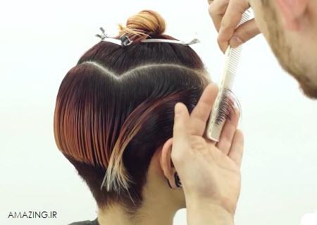 کلیپ کوتاه کردن مو زنانه , فیلم زدن مو , فیلم آموزش کوتاه کردن موی فشن