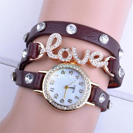 خرید ساعت زنانه نگین دار طرح Love