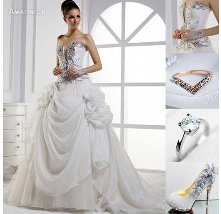 ستست لباس عروس , لباس عروس شیک , مدل لباس عروس سال , ست کامل لباس عروس